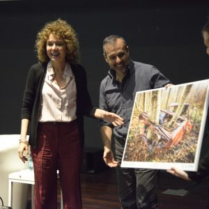 Valeria Golino con il vincitore del concorso Francesco Castelli
