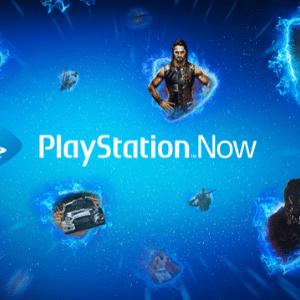 locandina playstation now azzurra con personaggi dei giochi