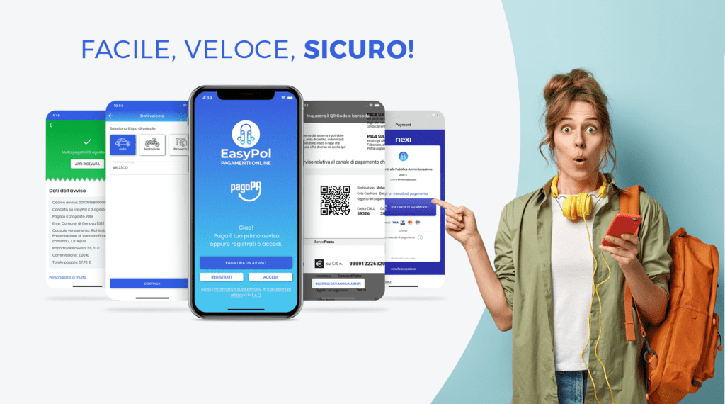 """EasyPol: arriva l'app """"salva tempo"""" che rende istantanei i pagamenti online di multe e tributi. 1"""