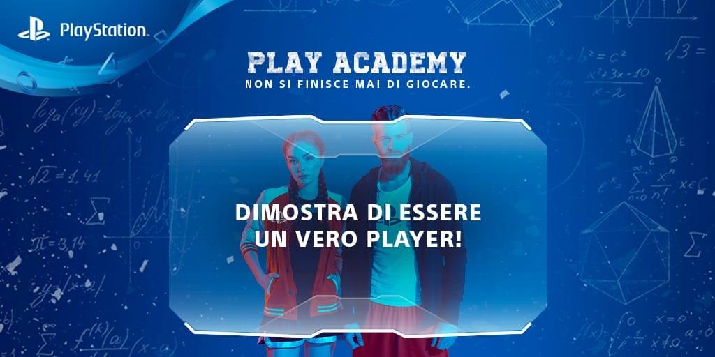 cover play academy blu con due giocatori in trasparenza